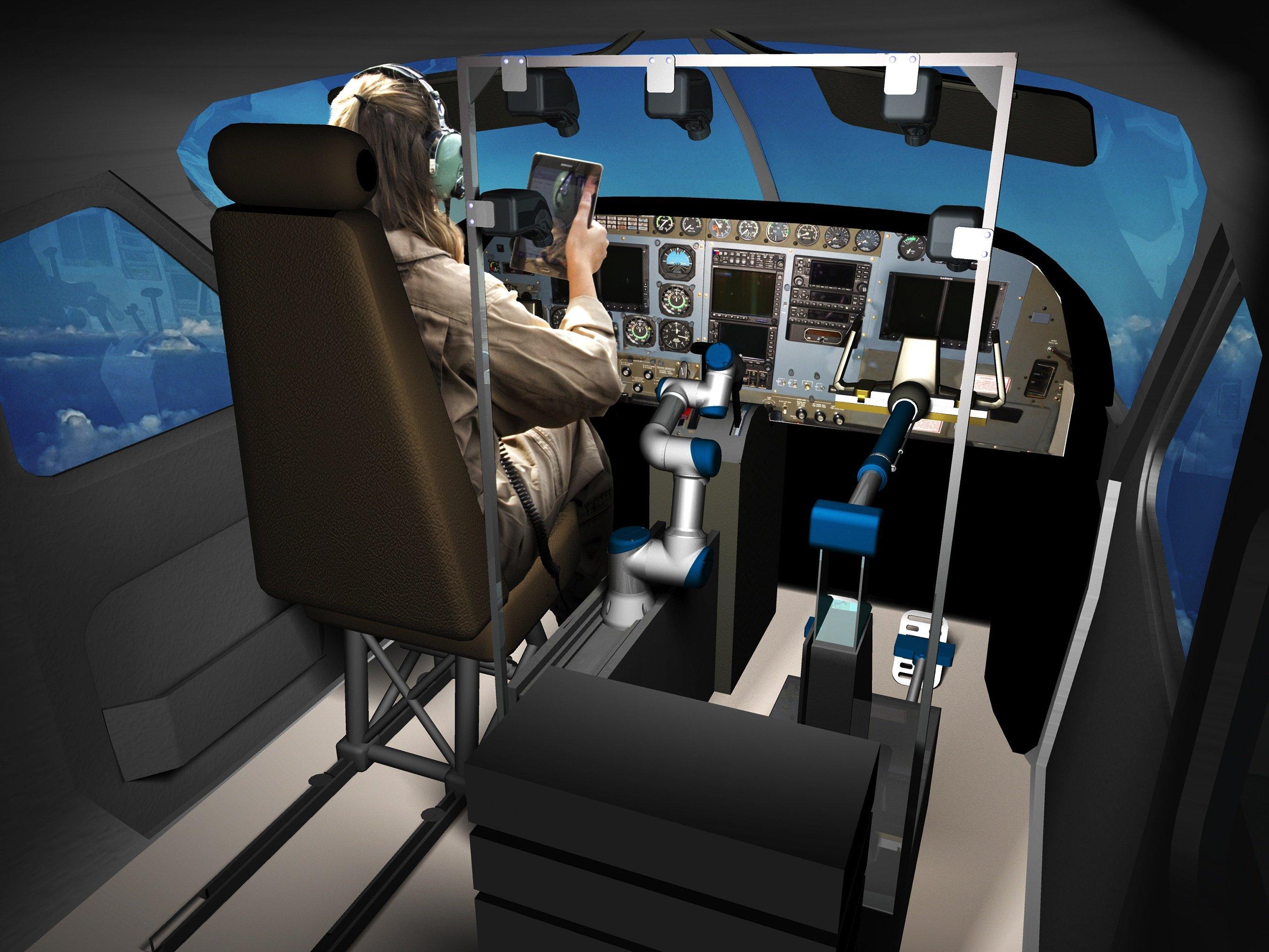 Bislang hat Roboter Alias verschiedene Flugzeugtypen im Simulator gesteuert, zuletzt eine Boeing 737. Aber auch in einer Cessna kommt er zurecht.