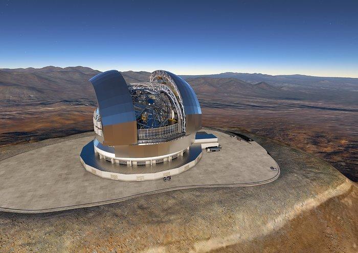 Konstruktionsentwurf des E-ELT:So sollen Kuppel und Teleskop aussehen, wenn sie fertig gebaut sind.