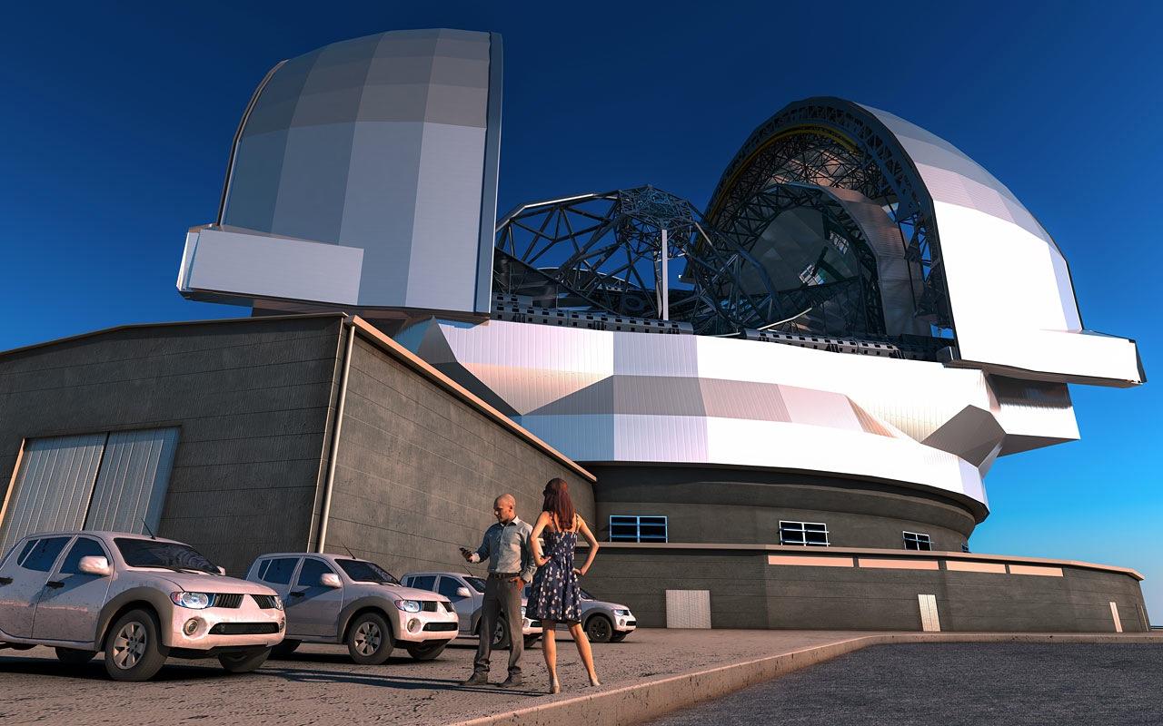 Diese künstlerische Darstellung zeigt das European Extremely Large Telescope (E-ELT) in seiner Kuppel. Das E-ELT wird ein Teleskop für sichtbares Licht und das nahe Infrarot mit einem Hauptspiegel von 39 m Durchmesser. Es wird gewissermaßen das größte Auge sein, das die Menschheit auf den Himmel richtet.