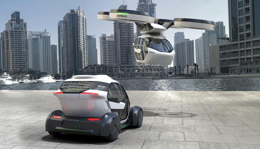 Idee von Airbus und Italdesign: Eine Kabine kann sowohl auf ein Fahrgestell montiert werden, um wie ein Auto zu fahren, oder von einer Drohne aufgenommen werden, um zu fliegen.
