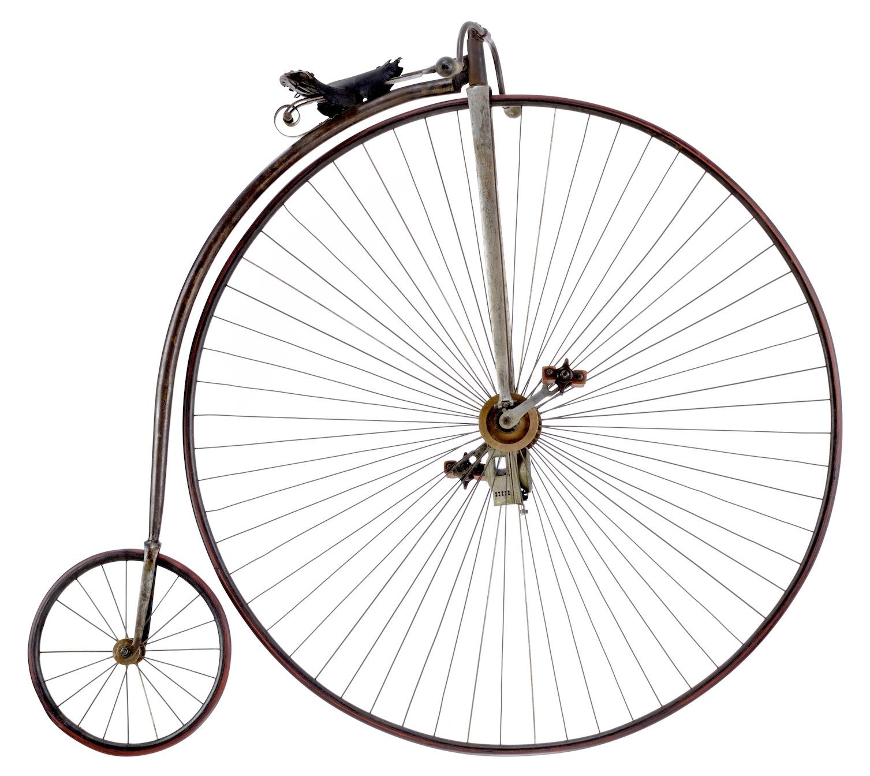 Hochrad um 1885: Hochräder waren teuer und das Erlernen des Hochradfahrens war schwer. Deshalb war Radfahren in dieser Zeit etwas für betuchte Menschen.