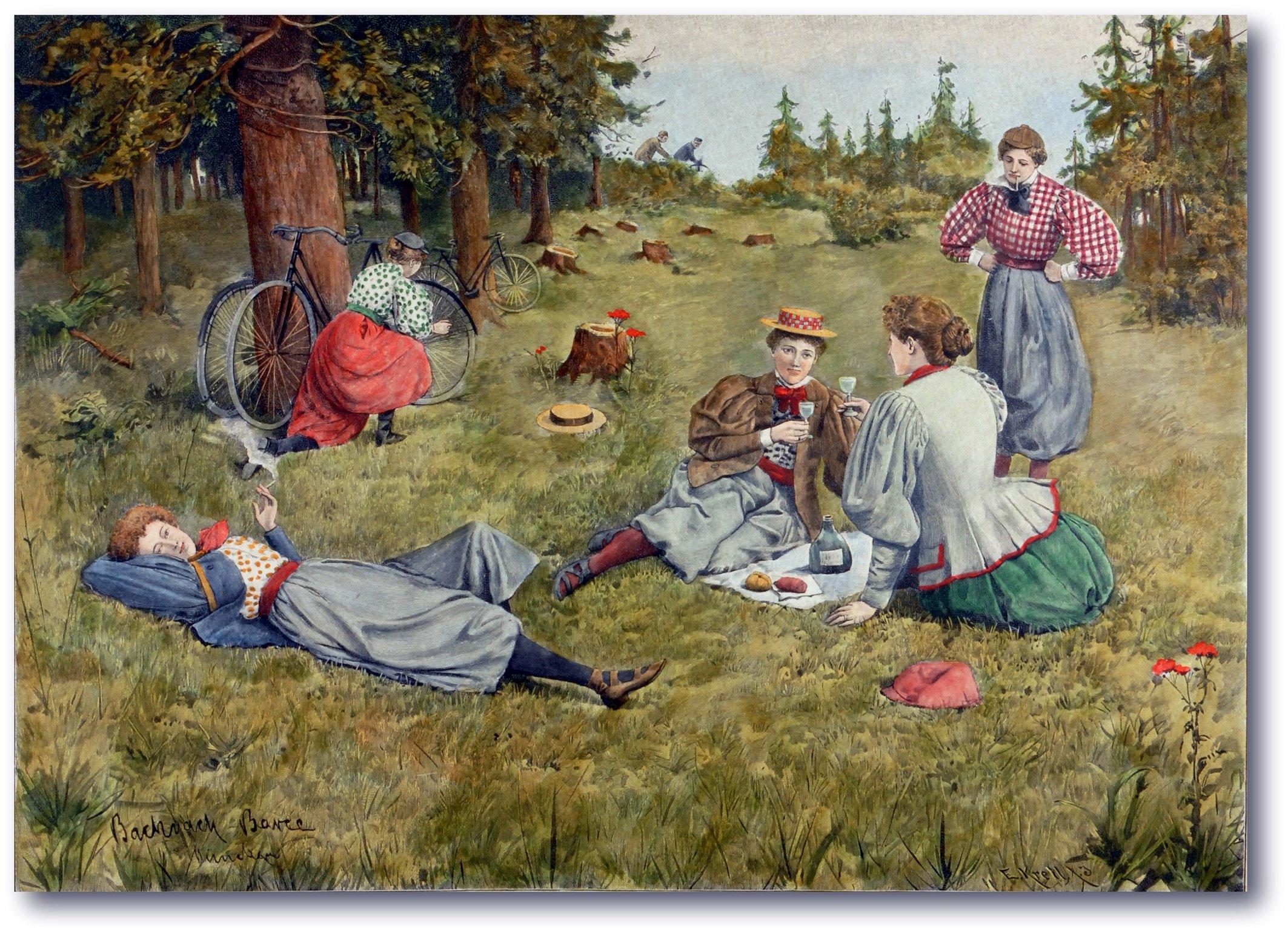 """Die Emanzipation der Frauen wurde durch das Rad entscheidend voran gebracht: Zeichnung eines Damen-Picknicks von Emmanuel Bachrach-Barée für die """"Allgemeine Illustrierte Zeitung"""" von 1897."""