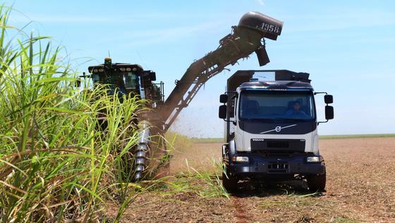 Die automatische Lenkung des Volvo-Trucks sorgt dafür, dass der Lkw den Kurs und die richtige Entfernung zur Erntemaschine hält, um Schäden an Jungpflanzen und die Verdichtung des Bodens zu vermeiden.