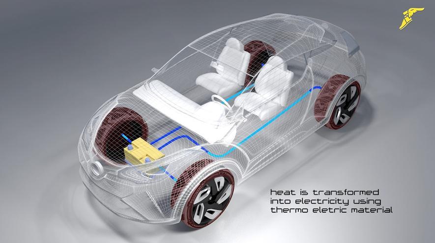 Der Konzeptreifen von Goodyear kann aus der Strahlungswärme der Sonne und der mechanischen Belastung während der Fahrt Strom erzeugen und diesen beim Elektroauto an die Akkus abführen.