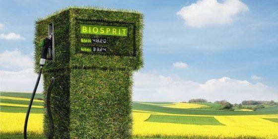 Grüner tanken. Tanksäule mit Gras und Feldern