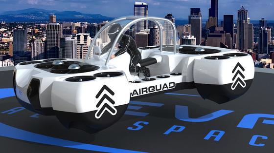 Das AirQuadOne soll bis zu 80 km/h schnell sein und pro Akku-Ladung bis zu 30 Minuten fliegen können.