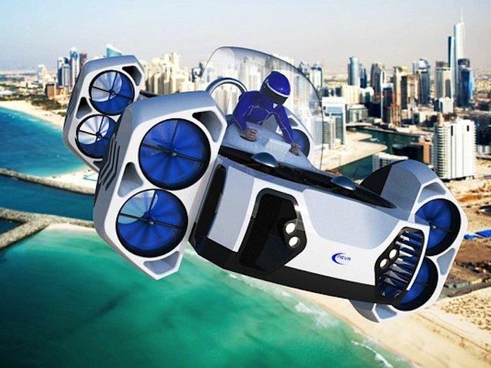 Vier elektrisch angetriebenen Turbinen des AirQuadOne können maximal 530 kg in die Luft bringen –bis in eine Höhe von 915 Metern.