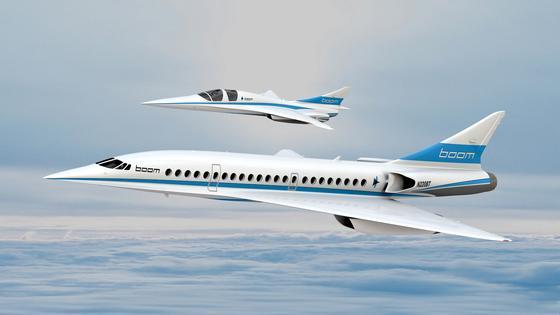 Oben der Baby-Boom, unten der Entwurf des Concorde-Nachfolgers Boom: 76 Bestellungen für das Passagier-Flugzeug, das zweifache Schallgeschwindigkeit erreichen soll, hat das Start-up Boom auf der Pariser Luftfahrtmesse in Le Bourget eingesammelt. 2023 soll das Flugzeug in Serie gehen.