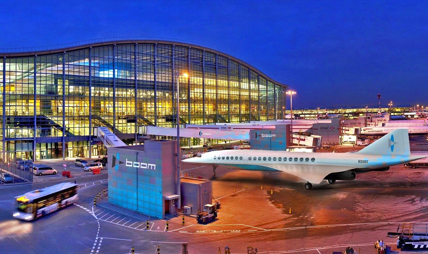 Simulation eines Boom-Jets auf dem Flughafen Heathrow in London: Das Flugzeug soll die Strecke New York – London in dreieinhalb Stunden schaffen.
