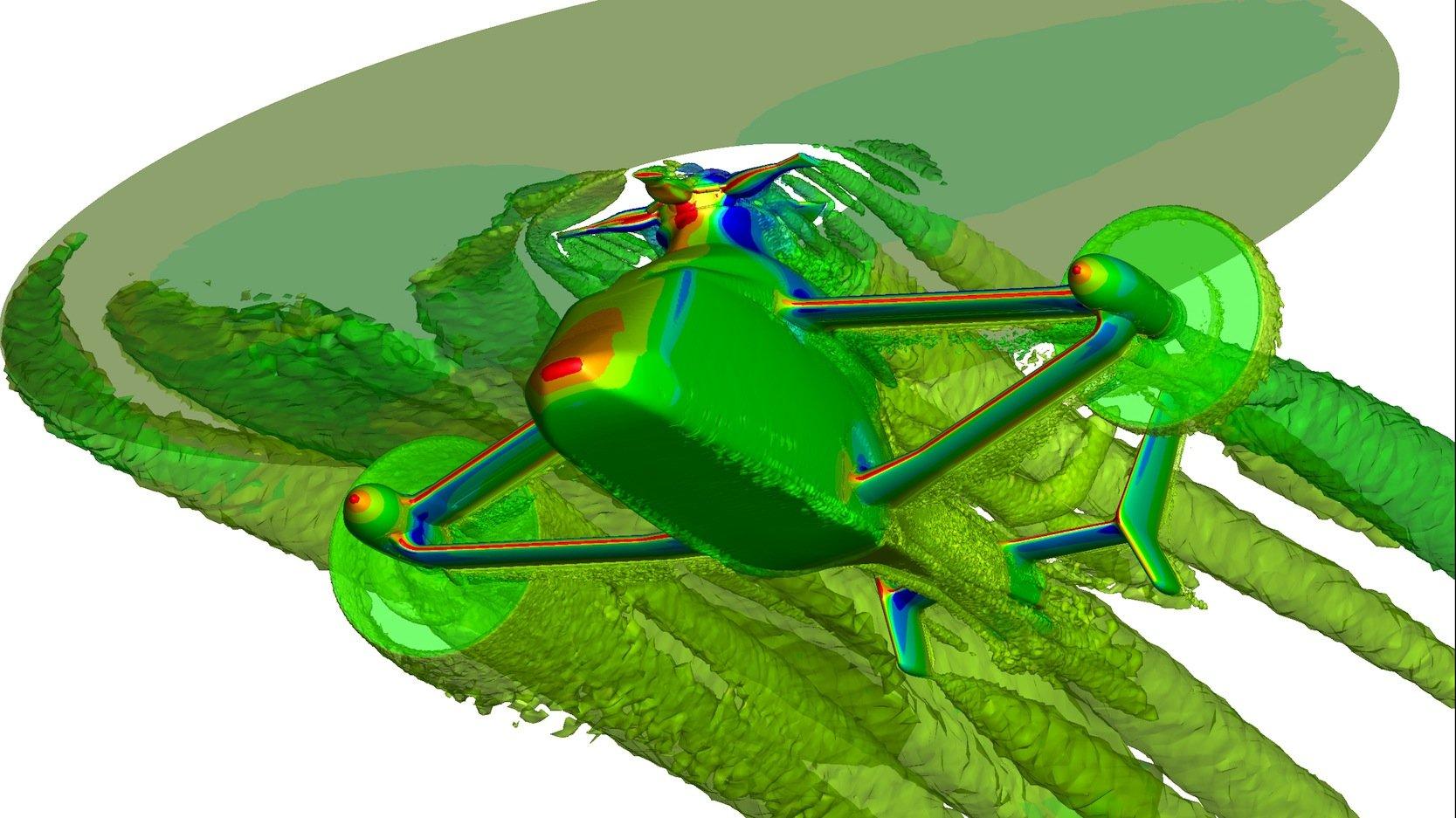 Computergestützte Strömungssimulation am neuen Airbus Racer Hubschrauber:Ingenieure des DLR haben vor allem an der aerodynamischen Gestaltung der Flügel und des Höhenleitwerks mitgewirkt.