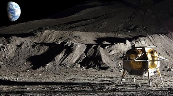 Die Deutsche Post will 2019 als Partner desUS-Unternehmens Astrobotic mit dessen Landefähre PeregrinePakete auf dem Mond ausliefern.