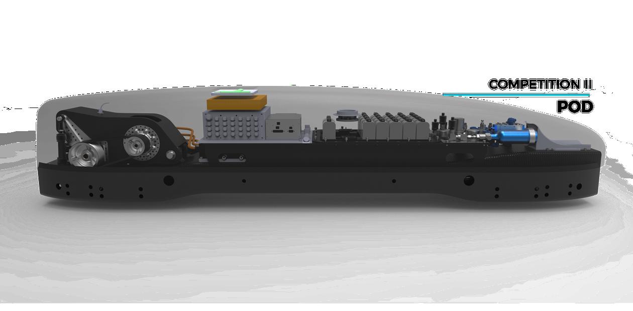 Einen 50 KW-Motor soll den Pod beschleunigen, gleichzeitig drückt eine Art Spoiler die Antriebsräder auf die Schienen.