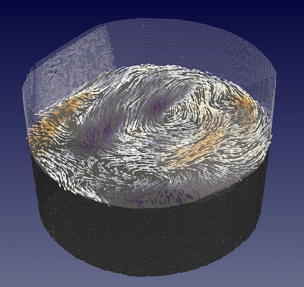 Ineinander verschlungene magnetische Strukturen. Zu sehen ist ein Teil der untersuchten Probe – ein kleiner zylinderförmiger Gadolinium-Kobalt-Magnet. Mittels Magnettomografie gelang Forschenden die Abbildung der innenliegenden magnetischen Muster. Die Magnetisierung ist hier durch Pfeile dargestellt – exemplarisch in einem horizontalen Ausschnitt des Zylinders.