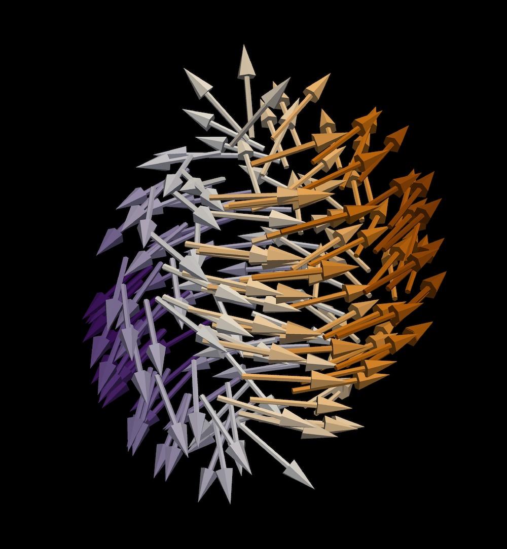 Darstellung eines Bloch-Punktes, den die Wissenschaftler in ihren Daten entdeckten. Ein Bloch-Punkt enthält eine magnetische Singularität, bei der sich die Richtung der Magnetisierung abrupt ändert. Innerhalb des hier gezeigten Bloch-Punktes erfolgt dieser Richtungswechsel von nach oben zeigenden Magnetnadeln – dargestellt durch Pfeile – zu nach unten zeigenden. Diese Singularität ist von einem Wirbel der Magnetisierung umgeben, dessen Form derjenigen eines Tornados ähnelt.