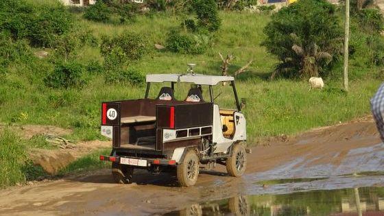 Der erste Prototyp bei der Testfahrt in Ghana