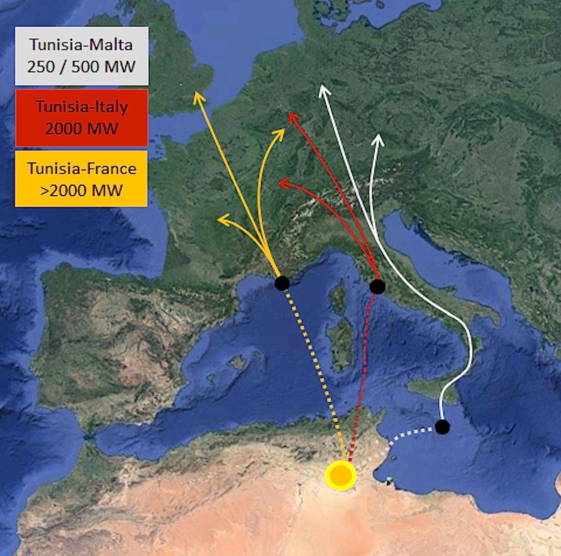 Drei Seekabel sollen Tunesien mit Malta, Italien und Frankreich verbinden.