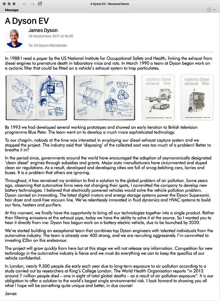 Auf Twitter hat James Dyson die Pläne für ein Elektroautos erstmals bestätigt.