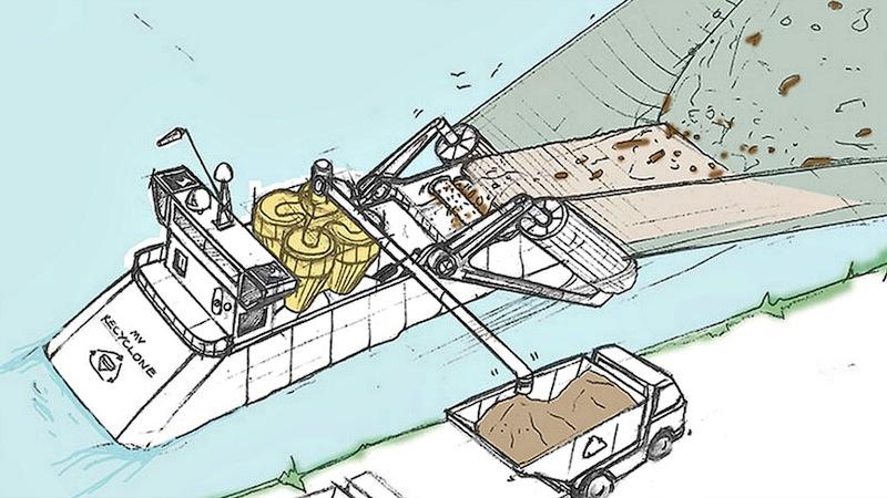 Skizze des Dyson Ocean Cleaners: Das Schiff soll ein großes Netz durchs Wasser ziehen. Das Plastik wird schließlich an Bord mit einer Anlage getrennt, die wie ein beutelloser Dyson-Staubsauger funktioniert.
