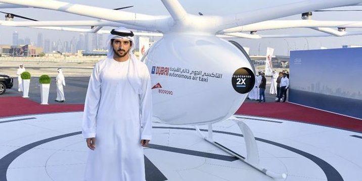 Scheich Hamdan bin Mohammed bin Rashid Al Maktoum, Erbprinz von Dubai, erschien persönlich zum ersten Testflug des Volocopters.