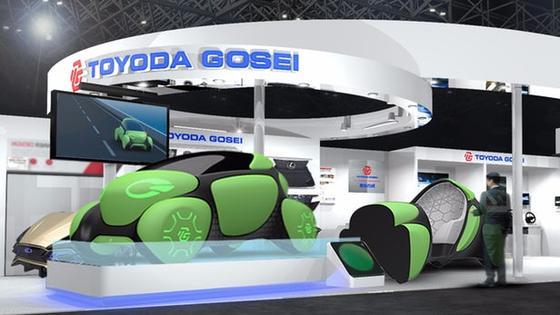 Der Autozulieferer Toyoda Gosei präsentiert sich und sein Konzeptfahrzeug Flesby II auf der Tokyo Motor Show 2017.