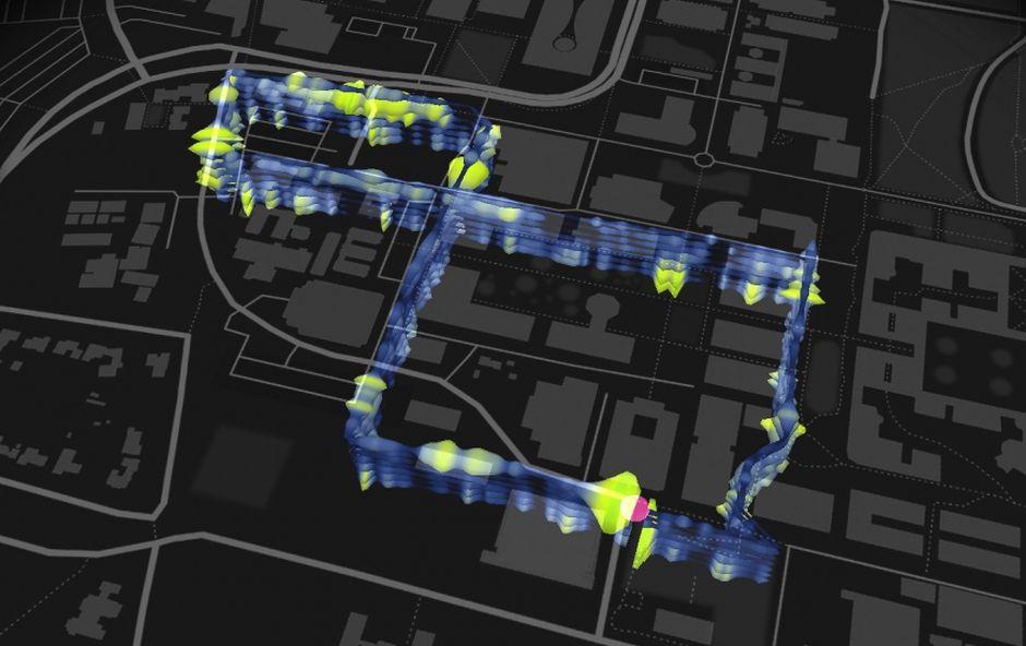 Die Karte zeigt das knapp fünf Kilometer lange Glasfaserkabel, das unter dem Campus der Stanford University verlegt wurde.