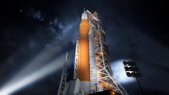 Das Space Launch System auf der Startrampe: Die Nasa plant den ersten Flug mit der stärksten Rakete der Welt zum Mond im Dezember 2019. Der erste bemannte Flug zum Mond ist für 2023 geplant.