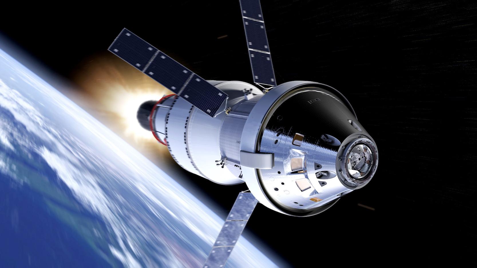 Zweimal werden die SLS-Rakete und die Orion-Kapsel die Erde umrunden, bevor sich die Kapsel von der Raketenstufe löst, um dann mit der Kraft des europäischen Servicemoduls ESM zum Mond zu fliegen.