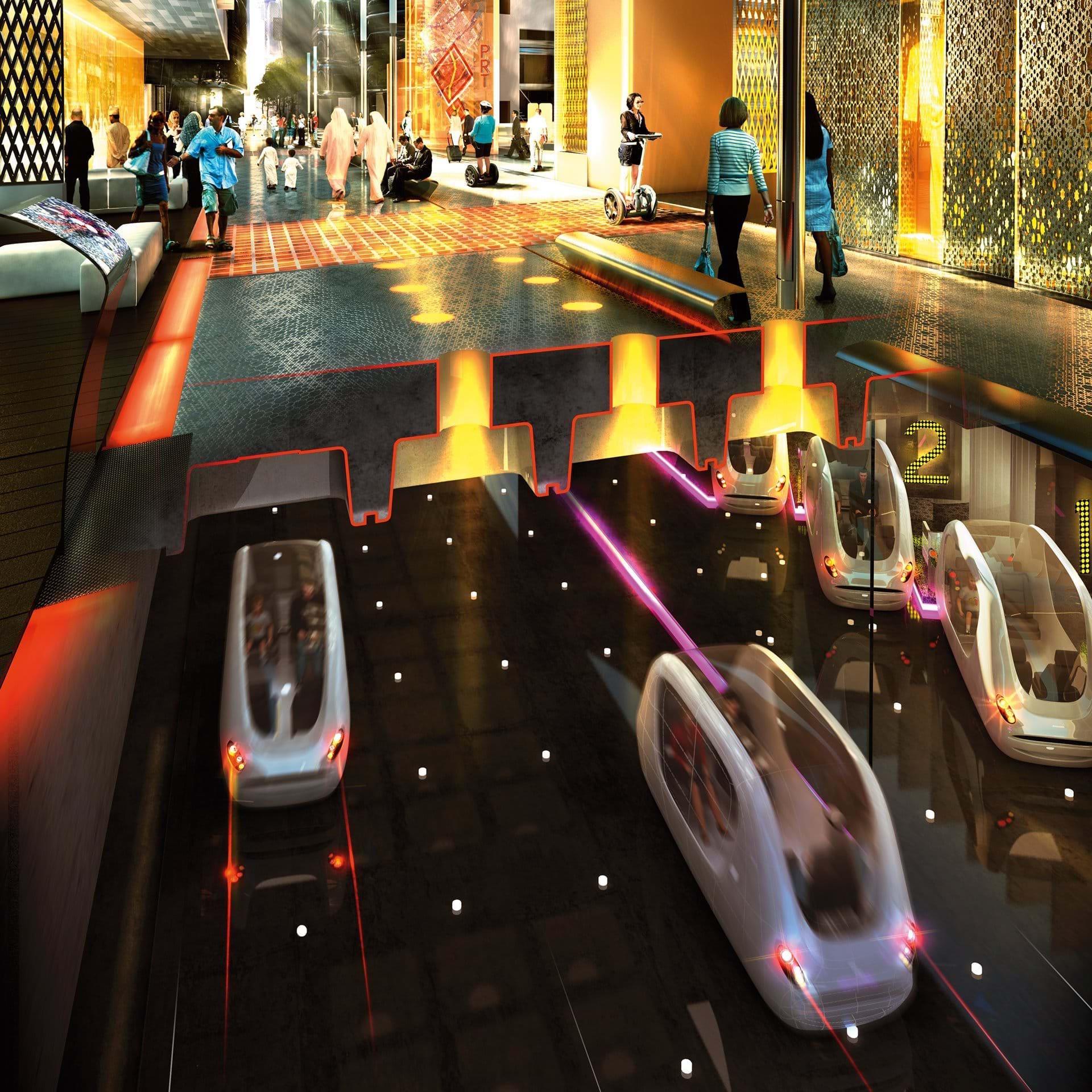 Zukunftsvision für Städte der Zukunft von Architekt Norman Foster: Elektroautos sollen autonom unter den Straßen fahren. Foster hat auch Masdar Cityentworfen.