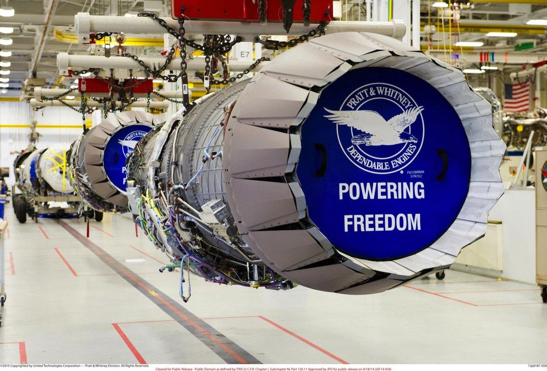 Triebwerk vonPratt & Whitney: Der Hersteller gehört zum MischkonzernUnited Technologies.