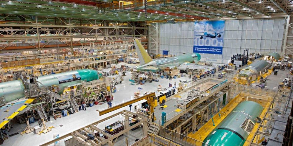Produktionshalle der Boeing 767 im Werk in Everett (Washington)
