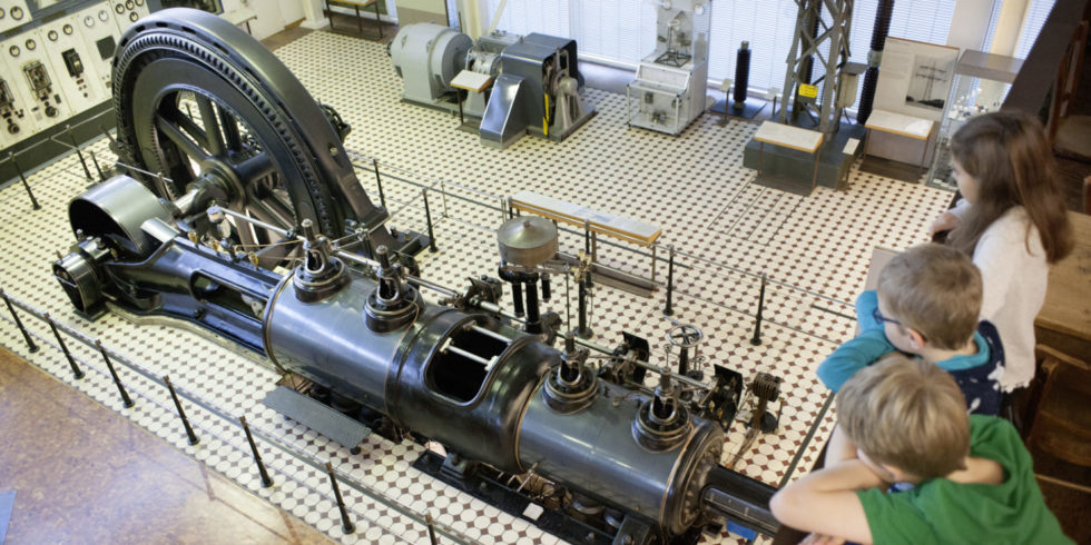 Zweizylinder-Tandem-Dampfmaschine im Technoseum Mannheim