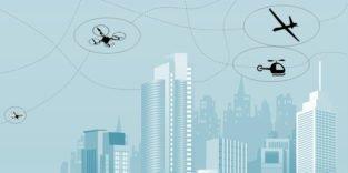 Grafik einer Skyline mit Flugzeug, Helikopter und Drohne darüber