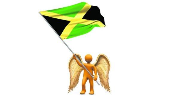 Goldener Engel hält Jamaika-Flagge