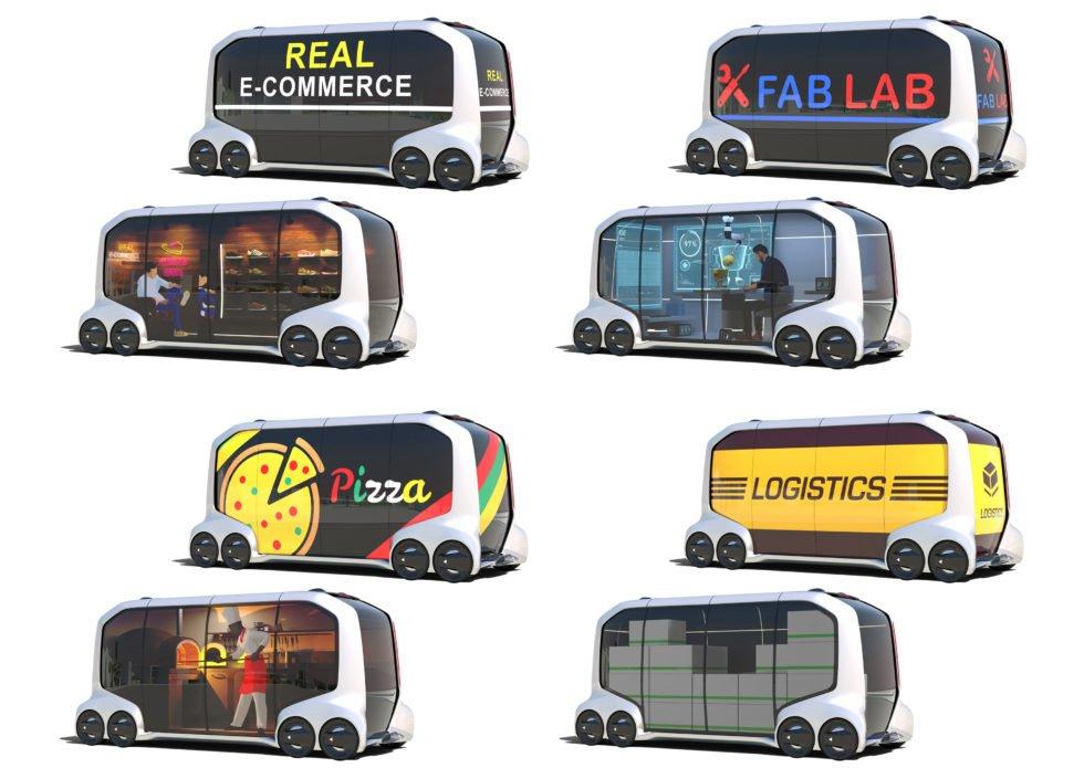 Die autonom fahrende E-Palette von Toyota kann als Bus genauso genutzt werden wie als Büro, Pizza-Bude, Transportfahrzeug, Ladenlokal oder Lagerraum.
