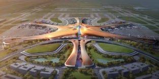 Flughafengebäude von oben