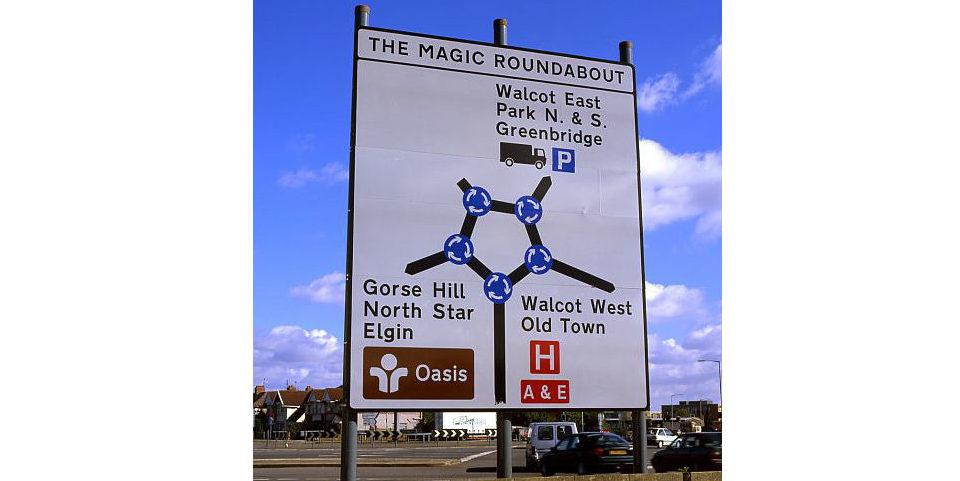 Der Magic Roundabout im englischen Swindon besteht aus einem großen Kreisverkehr und fünf kleineren Kreisverkehren um ihn herum. Foto: panthermedia.net/clickos