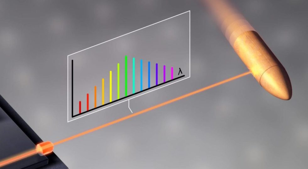 Grafische Darstellung des Messvorgangs mit einem Laserstrahl an einer Gewehrkugel: So schnell und genau hat man noch nie vermessen können. Das Verfahren wäre ideal, um die Umgebung autonom fahrender Autos zu erfassen.