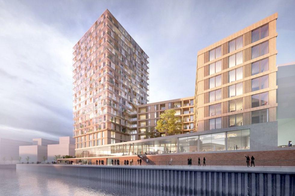 Auch in der Hamburger Hafencity soll ein 64 Meter hohes Holz-Hochhaus entstehen.