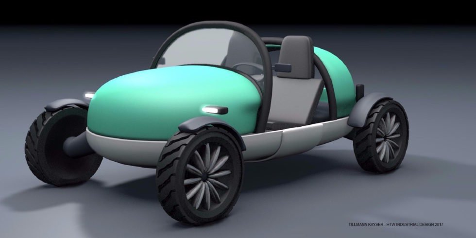 Das ist ein aufblasbares Auto, das nicht einmal 400 kg wiegt und sich zur Größe eines Hartschalenkoffers zusammenfalten lässt.