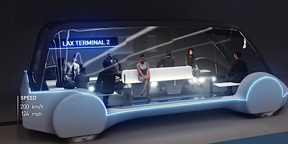 Elon Musk will künftig in unterirdischenTunnelsystemen vorrangig Fußgänger und Radfahrer in einer busähnlichen Transportkaspel befördern.