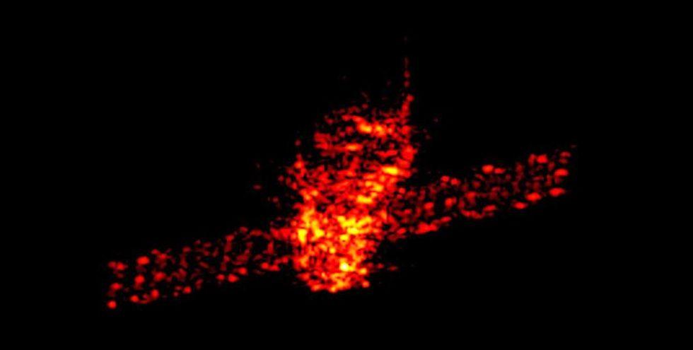 Radaraufnahme von Tiangong-1 auf seiner Reise um die Erde.