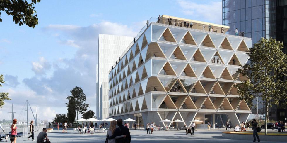The Cradle im Düsseldorfer Medienhafen: 2021 soll das recycelbare Öko-Bürohaus bezugsfertig sein.