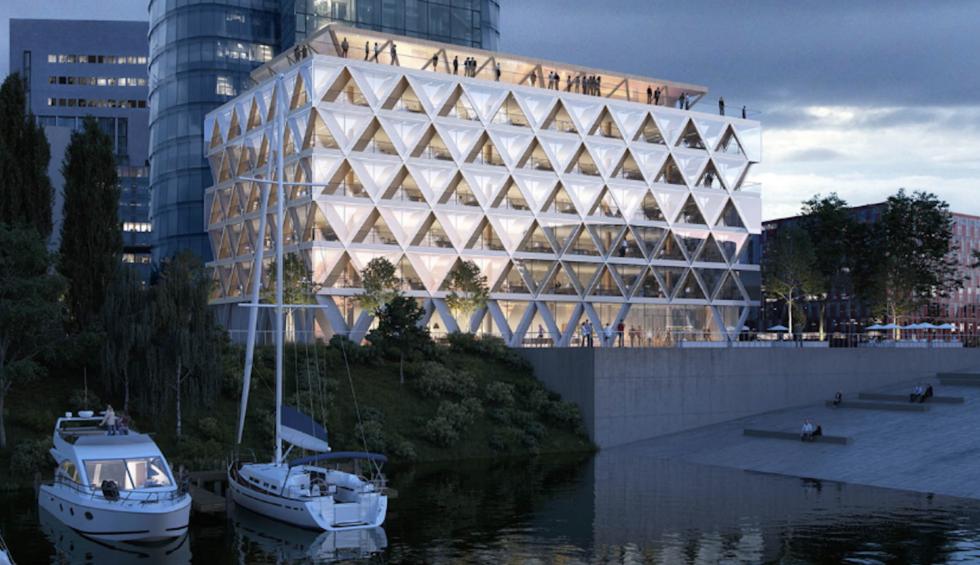 Ein Zeichen nachhaltiger Stadtentwicklung: Das Holzhybridhaus The Cradle im Medienhafen in Düsseldorf soll in den nächsten drei Jahren entstehen.