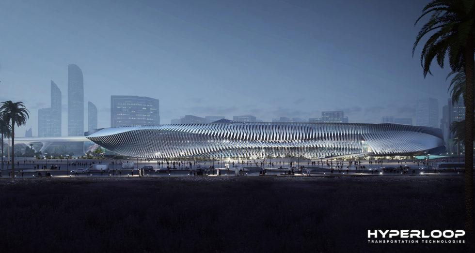 Futuristisch: Entwurf für den Hyperloop-Bahnhof in Abu Dhabi.