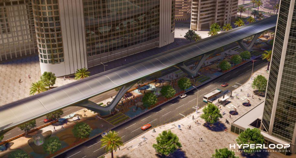 Hyperloop-Strecke, integriert in das Stadtbild von Abu Dhabi.