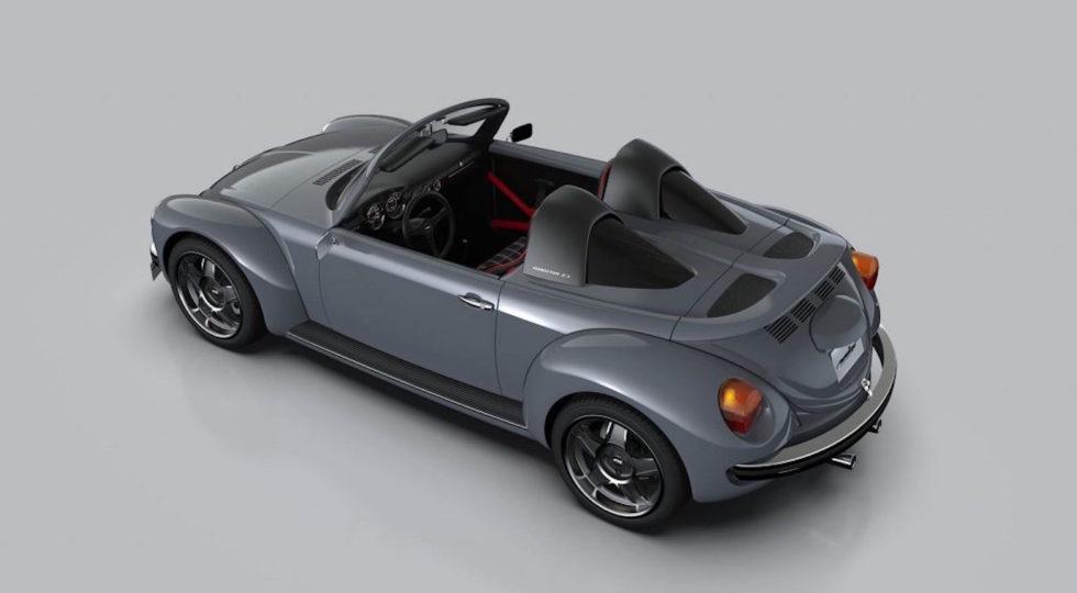 Käfer im Sportwagen-Look: Der Roadster hat weit ausladende Kotflügel, verbreiterte Schwellerbereiche und große Sporträder.