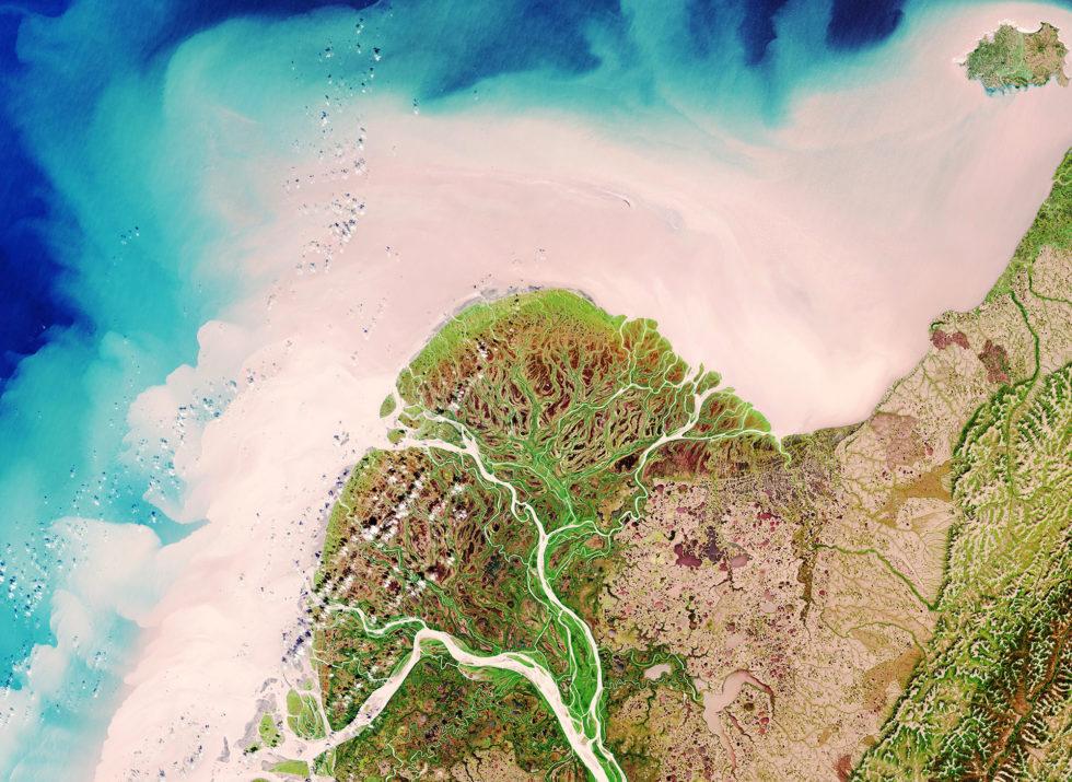 Das Mündungsdelta des Yukon Rivers in British Columbia in Kanada, aufgenommen am 29. August 2017 vom Copernicus-Satelliten Sentinel-2.