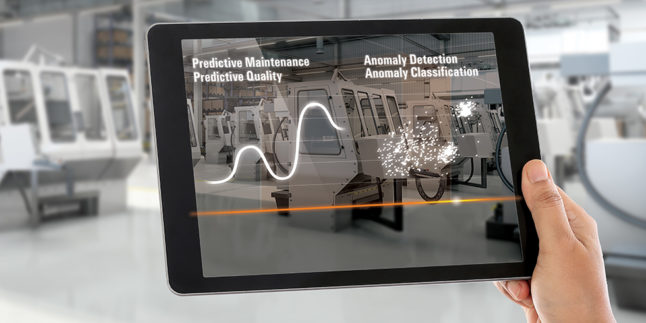 Visual Industrial Analytics Features, dargestellt auf einem Tablet
