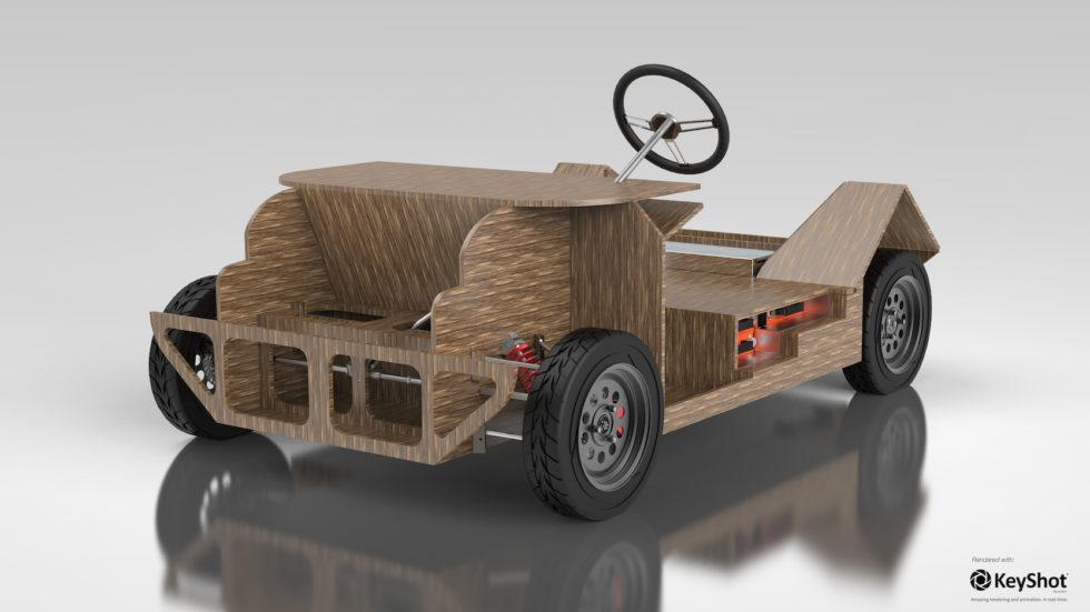 """Chassis, Karosserie und Innenraum von """"Noah"""" sollen komplett aus einem Flachs-Zucker-Verbundstoff bestehen. Das gesamte Auto soll nur 350 Kilogramm wiegen."""