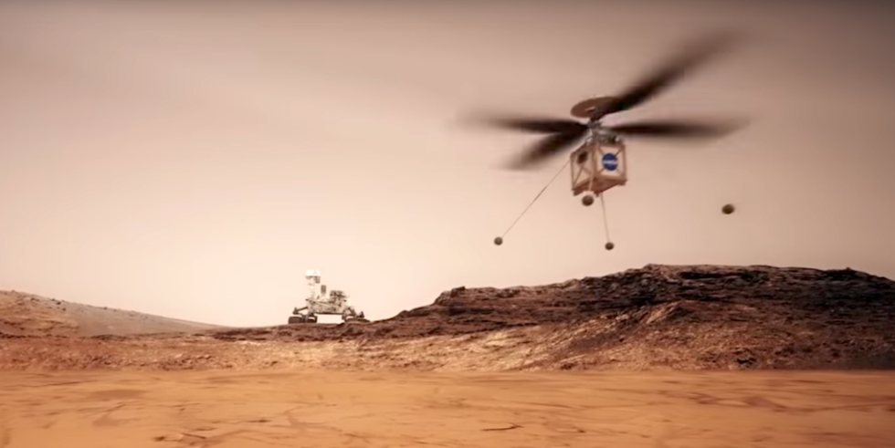 Die Rotoren des Marscopters erreichen 3.000 U/min, sind zehnmal schneller als Hubschrauberrotoren auf der Erde. Nur so kann der Helikopter in der dünnen Atmosphäre abheben.